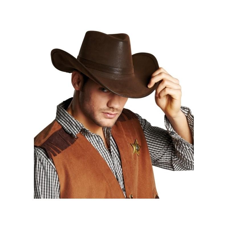 chapeau cowboy brun imitation cuir adulte chapeaux cowboy. Black Bedroom Furniture Sets. Home Design Ideas