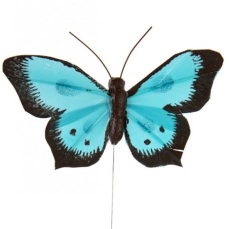 Papillon Bicolore Turquoise en Plumes sur Tige les 6 déco