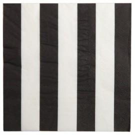 Serviettes de table Rayées Noir Blanc les 20
