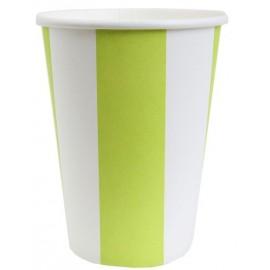 Gobelets Carton Rayé Vert Anis Blanc les 10