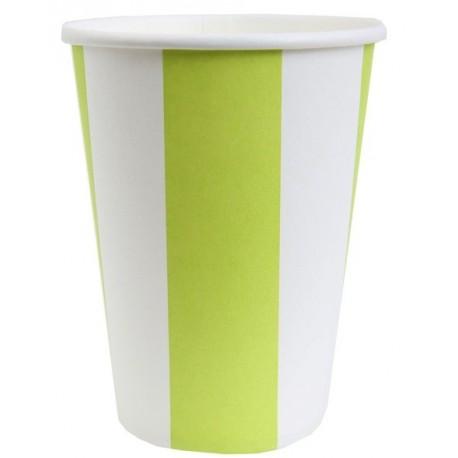 Gobelet Carton Rayé Vert anis Blanc les 10
