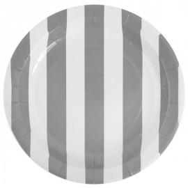 Assiettes Carton Rayées Gris Blanc 23 cm les 10