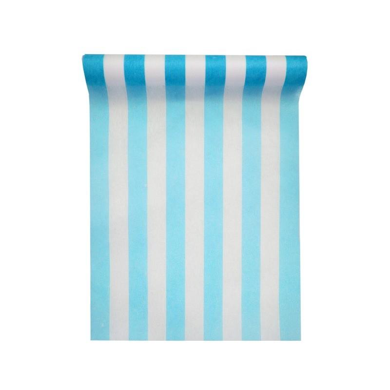 Chemin de table intiss ray bleu turquoise blanc 5 m for Chemin de table turquoise