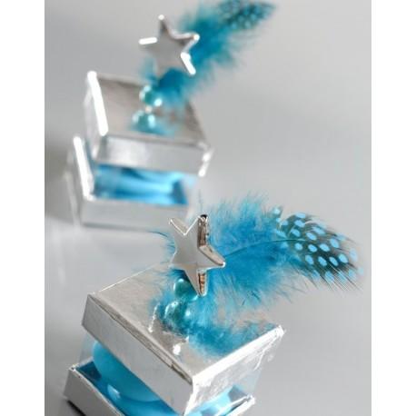 Plume Bleu Turquoise Léopard Assortie avec Perle les 6