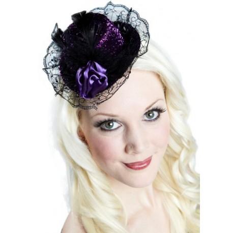 Mini chapeau lilas chic lurex deluxe femme
