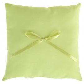 Coussin alliances coton vert anis et noeud ruban