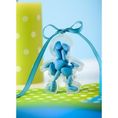 Boîtes à dragées garçon plexi transparent 7 cm les 4