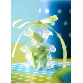 Boîte à dragées fille plexi transparent 7 cm les 4