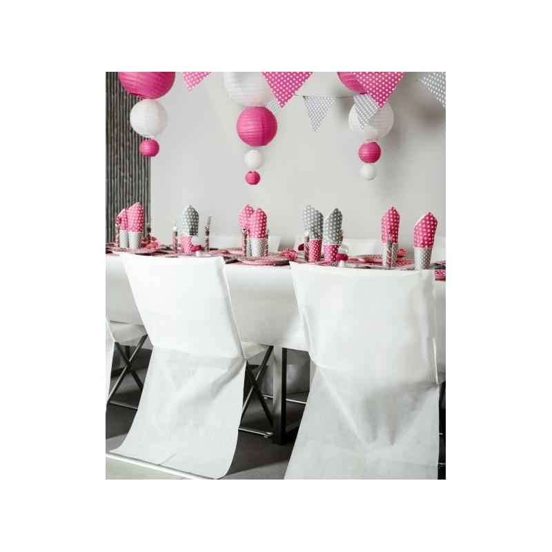 Housse de chaise blanche intiss opaque les 4 for Housses de chaises blanches