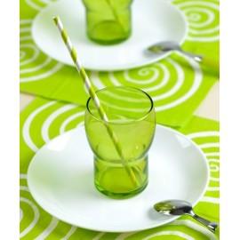 Pailles rayées Vert Anis Blanc en papier les 20