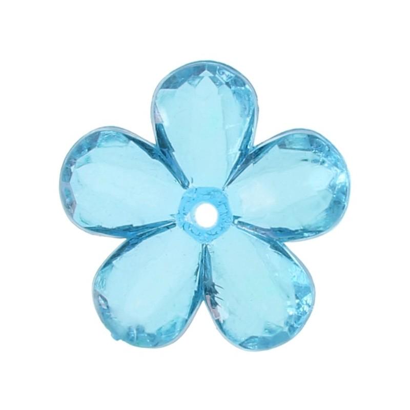 Perles fleurs transparentes couleur 2 1 cm les 10 for Quelle couleur se marie avec le bleu turquoise