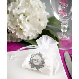 Sachets A Dragées Just Married Blanc les 10