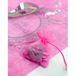 Sachets à dragées Just Married Fuchsia les 10