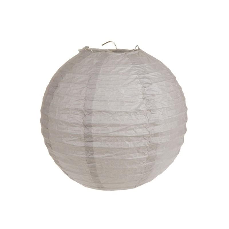 Lanterne boule chinoise papier taupe 30 cm les 2 - Boule papier chinoise ...