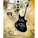Marque Table Guitare Ardoise Blanc Pailleté en bois 20 cm