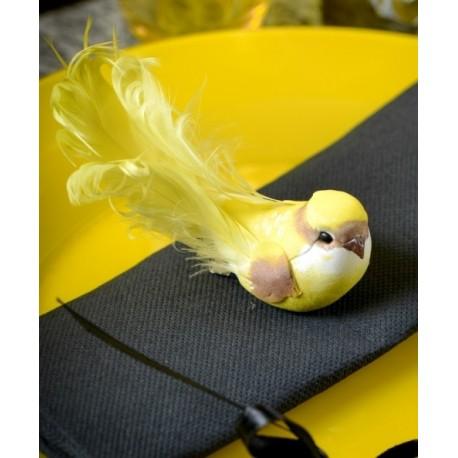Oiseaux jaunes en plumes sur pince 12 cm les 2