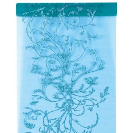 Chemin de Table Orient Turquoise Organdi 5 M