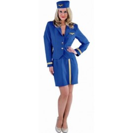 Costume Hôtesse de l'air Bleu Cobalt Deluxe Femme