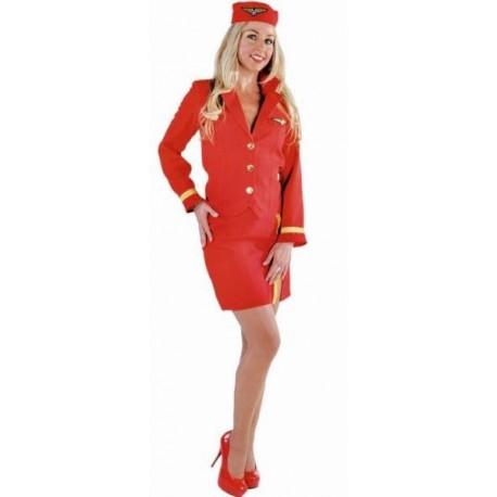 Costume Hôtesse de l'air Rouge Deluxe Femme