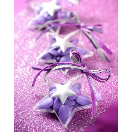 Boîte à dragées étoile transparente 9.6 cm les 4