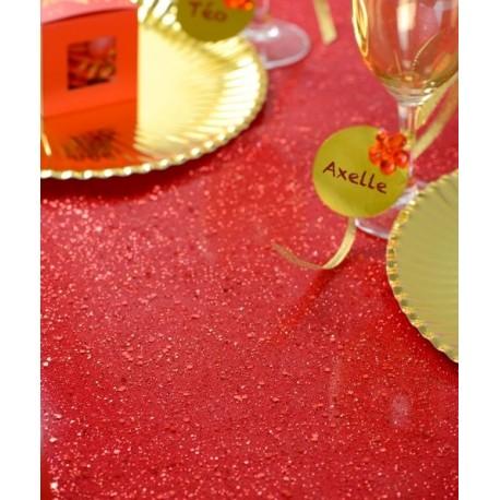 Chemin de table tulle pailleté rouge