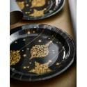 Assiettes Flocon de neige or carton noir 23 cm les 10