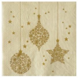 Serviette de table Flocon de neige or papier ivoire les 20
