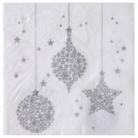 Serviettes de table Flocon de neige argent papier blanc cassé les 20
