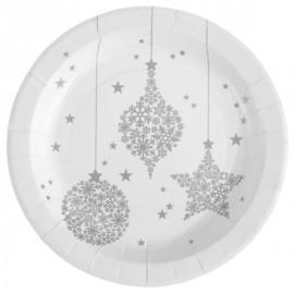 Assiettes Flocon de neige argent carton blanc 23 cm les 10