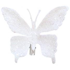 Papillons Blancs Pailletés sur Pince les 4