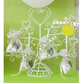 Support à Dragées Coeur Arbre Métal Blanc Design 26 cm