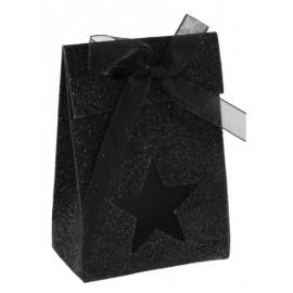 Boîtes à dragées Etoile noires pailletées les 4