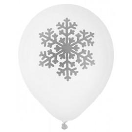 Ballon Flocon de Neige Blanc Argent 23 cm les 8