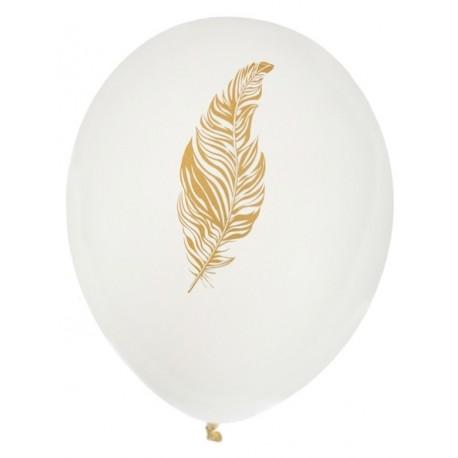 Ballons plume ivoire or 23 cm les 8