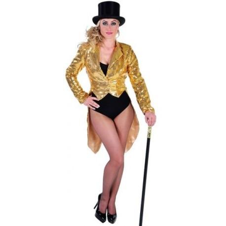 Costume Queue de Pie Cabaret Or Paillettes Sequin Femme Luxe