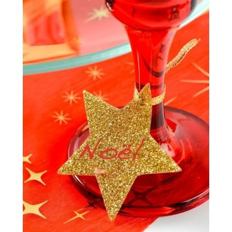 Marque place étoile or pailleté avec ruban les 6