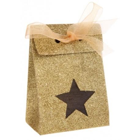 Boîte à dragées étoile or pailletée les 4