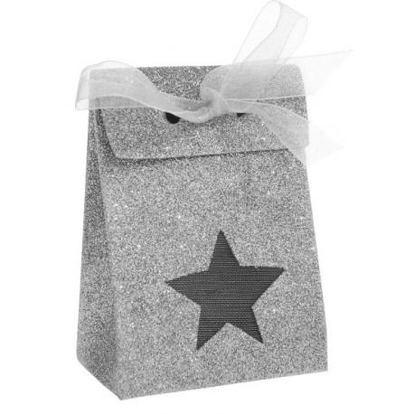 Boîte à dragées étoile argent pailleté les 4