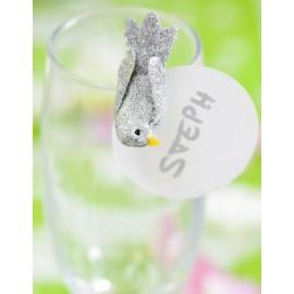 Oiseaux Argent Pailletés sur Pince 4 cm les 2
