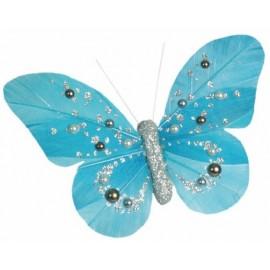 Papillons Perles Turquoise Argent sur Pince Les 2