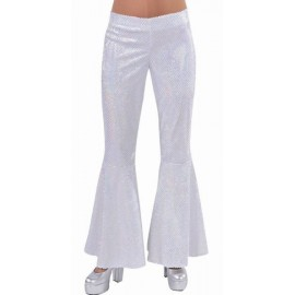 Déguisement disco pantalon blanc paillettes femme luxe