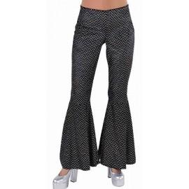 Déguisement disco pantalon noir paillettes femme luxe