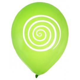 Ballons spirale vert blanc 23 cm les 8