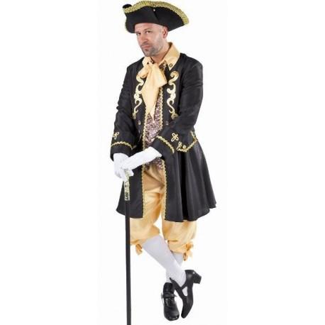 Costume Déguisement Marquis baroque noir or adulte luxe