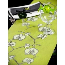 Chemin de table orchidée intissé vert anis 5 M