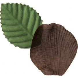 Pétales de rose chocolat en tissu avec feuilles Les 100