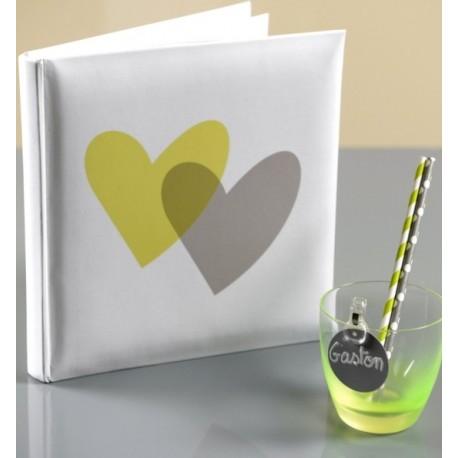 Livre d'or coeur vert anis coeur gris