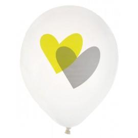 Ballons blancs coeur vert anis et gris 23 cm les 8