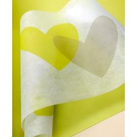 Chemin de table coeur vert anis coeur gris intissé blanc 5 M