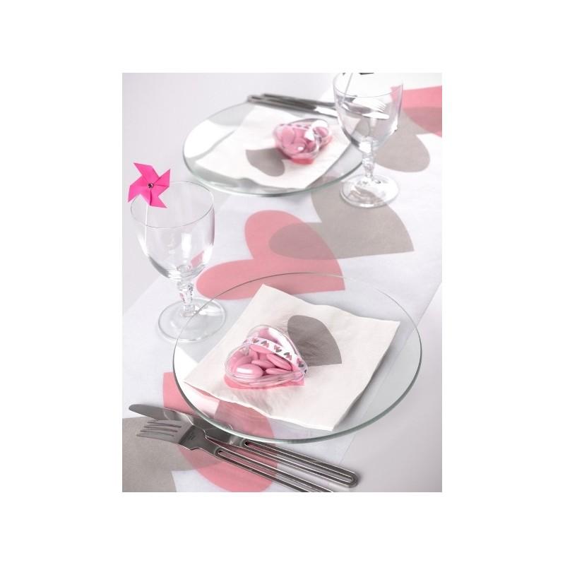 Chemin de table coeur rose coeur gris intiss blanc 5 m for Chemin de table gris et blanc